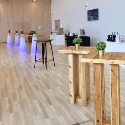 location mobilier evenementiel psb lounge tables porto, peak plateau bois et manufactura